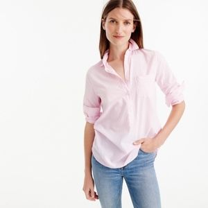 J. Crew Pink Stripe Pocket Popover Shirt